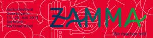 ZAMMA-Banner 2019 Schriftzug auf rotem Hintergrund