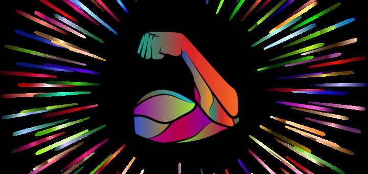 Muskulöse Hand in Regenbogen-Farben