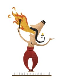 Illustration Mann der Feuer spukt