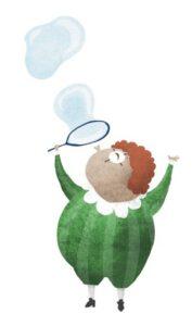 Illustration Mädchen, das Seifenblasen macht