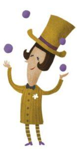 Illustration, Mann der jongliert