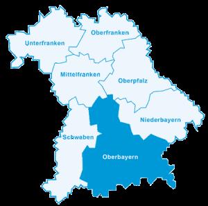 Karten mit den Bezirken von Bayern